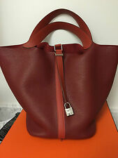 NEW HERMES PICOTIN HANDBAG SHOULDER/TOTE RougE/Brique TGM 31 LG RET 4500