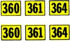 360 361 364 NUMBER ADHESIVE STICKER for American Flyer ALCO DIESEL Trains