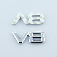 V8 Logo Car Chrome Plated ABS Silver 3D Decal Badge Emblem Sticker Auto Number