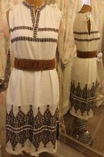 Indian Navajo white dress - Ditsy Vintage Size 10 12 - 1970s aztec