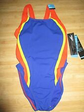 NEW Speedo Size 4 30 ATHLETIC Swimsuit RACING Performance Red Blue $66 Retail