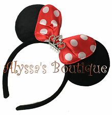 Minnie Mouse Ears Headband Princess Rhinestone Tiara Black Red Bow Mickey Party