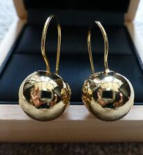 BEAUTIFUL REAL YELLOW GOLD FILLED FILIGREE BALL DROP DANGLE EARRINGS UK SELLER