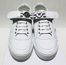 $875 Italy VERSACE Silver Medusa-Medallion Strap White-Leather Sneakers 43-IT 10