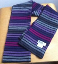 EAST Additions Scarf Stripped In Different Hues Of Purple & Grey - 100% Wool