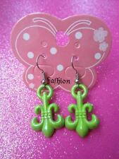 Green Fleur-de-lis Dangle Earrings (ID #103)