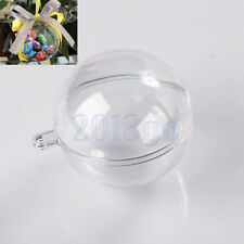 10pcs 5 Ball Christmas Baubles Clear Fillable Xmas Tree Decoration Ornaments CG
