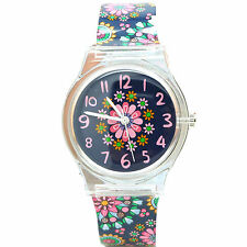 Zeiger Kids Quartz Watch Girls Analog Time Teacher Black Hawaii Flowers Silicone