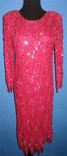 Vtg 80s Shocking Pink Sequin Beaded Glam Deco Flapper Prom Dress S