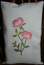 PAIR OF EMBROIDERED CUSHION COVERS WITH ROSE DESIGN