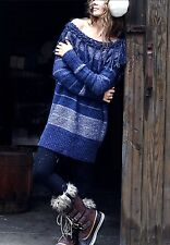 NEW Free People blue fringe off the shoulder Need You Now Sweater Tunic M $168