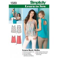 SIMPLICITY SEWING PATTERN MISSES' LEARN TO SEW TOPS SIZES 4 - 16 1589