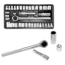 "40-Piece Socket Tool Set Ratchet Set METRIC/SAE 1/4"" & 3/8"" Drive w/ Case"
