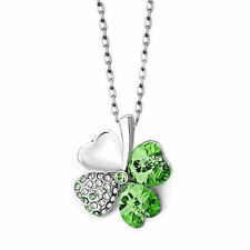 Green Irish Heart Shaped Four Leaf Clover Rhinestone Necklace VALENTINES DAY