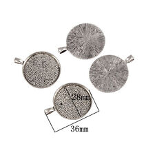 round Antique Silver Cameo Cabochon Base Setting Charm Pendant 28*28mm 10pcs