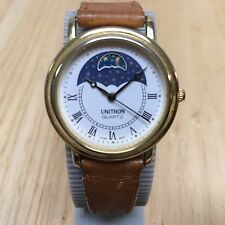 Vintage Unitron Gold Tone Moon Phase Leather Analog Quartz Watch Hour~New Batter
