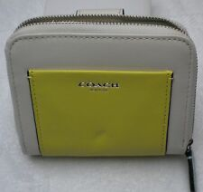 "Coach Beige/Green Multi Leather Zip Around & Snap-Over 5 X 4 X 1""  Wallet. $129"