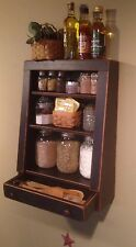 Handmade Wood Rustic, Primitive, Country Step Back Cubby Shelf-Deep Blue