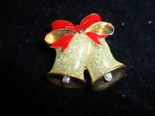 Avon Signed Pin Brooch Gold Glitter Bell Bow Holiday Rhinestone Vintage Antique