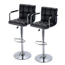 Set of 2 Bar Stool PU Leather Barstools Chair Adjustable Counter Swivel w/ Arm