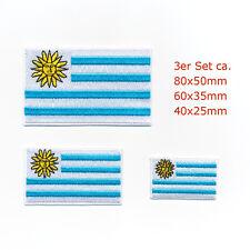 3 Uruguay Flaggen Montevideo Südamerika Patches Aufnäher Aufbügler Set 0952