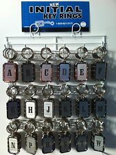 New Stainless Steel Riveted Look Initial Key Chain 108 Pieces on Rack USA Made