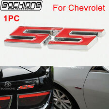 """1X Red Chevy """"SS"""" Logo Emblem Decal Trim Fit 1990-2014 Chevrolet Fadeproof BADGE"""