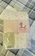PRETTY Pink Floral EmbroideredBaby Girls 9-12 Months 3 PACK Detailed SLEEPSUITS