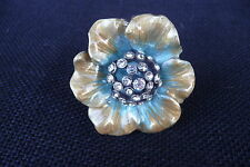 Gold & Turquoise with Rhinestone Center Flower Floral DRAWER PULLS KNOBS ~ new