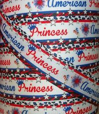 "5 YARDS 1"" PATRIOTIC FIREWORKS RED WHITE BLUE AMERICAN PRINCESS GROSGRAIN RIBBON"