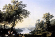 Oil painting jacob philipp hackert - landscape with river shepherdess & sheep