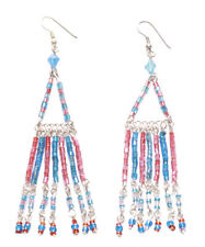 Blue & Pink Beads Triangle & Fringe/dangler Chrome Hook Earrings(Zx205)