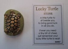 f Gold on green LUCKY TURTLE Stone Ganz good luck
