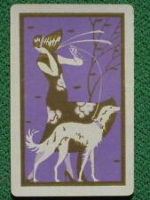 Art Deco Lady w/ Borzoi Russian Wolfhound Dog Art Swap Card Rare Vintage 1932 A+