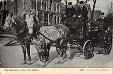 Union City Indiana Fire Department Fire Wagon Antique Postcard J47348