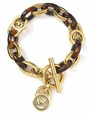 NWT MICHAEL KORS Gold Tone Tortoise Bracelet MKJ1675 Toggle Padlock Chain Link