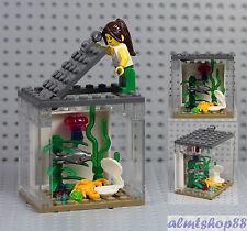 LEGO - Fish Tank & Girl Minifigure Jellyfish Crab Clam Animal Terrarium Aquarium