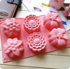 Allforhome 6 Flowers Silicone Muffin Cups Handmade Soap Mold Cake Baking Mould
