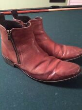 Men's CLARKS Brown leather side zipper Beatle boots, shoes, size 8, ankle boots
