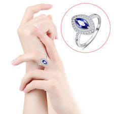 lingmei 100% S925 Sterling Gemstones Silver Rings Size 8 Tanzanite & White Topaz