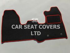 TO FIT A FORD TRANSIT CUSTOM VAN MAT, FLAT BED , BLACK CARPET + RED PIPING