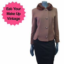 Vintage 50s 60s Coffee Brown Wool Jacket Real Rabbit Fur Collar Mad Men Dita 14