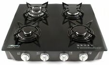 MIYAKO Gas Stove Hob 4 Burner Glass Black Auto Ignition LPG Outdoor Garden 8.7kW