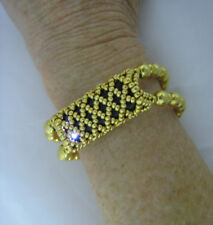 "Gold Beaded Stretch Bracelet to Hold Fitbit Flex 5 1/2"" Wrist Barely Used"
