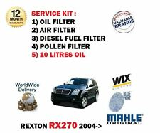 FOR SSANGYONG REXTON RX270 2004-  OIL AIR FUEL POLLEN  FILTER KIT + 10LT OIL