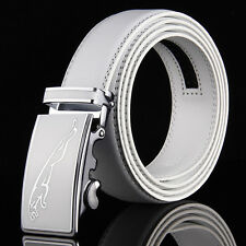 Mens White Leather Belt Strap With Jaguar Automatic Buckle Casual For Wedding