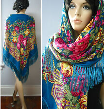 "Russian Floral Shawl Fringed 55""/140cm Huge Blue BR142-5,""Pavlovo Posad Style"""
