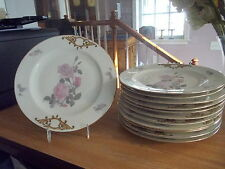 Set of 11 Czechoslovakia Dinner Plates - Pink Roses w/Gold Trim
