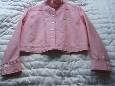 COURREGES PARIS PINK SIGNATURE LOGO VYNIL FAUX LEATHER JACKET SZ 44 WITH TAG