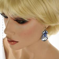 SIMPLY VERA WANG Large TEAR DROP Faux CRYSTAL Dangle EARRINGS with BLUE & PURPLE